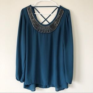 🔥 2/$20 Studio Y Teal Blouse with Beaded Neckline
